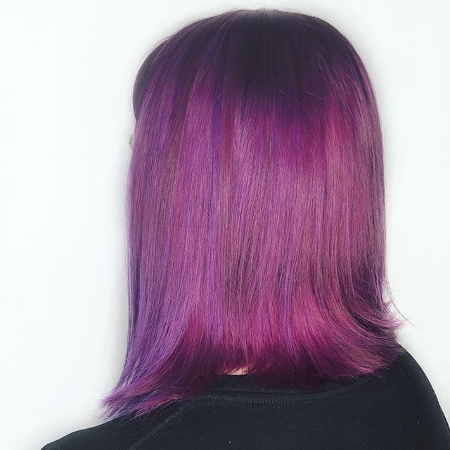 Does anyone remember the first time Samantha did this head of vibrant purple? We have never seen a client so dedicated to maintain their fashion colour!