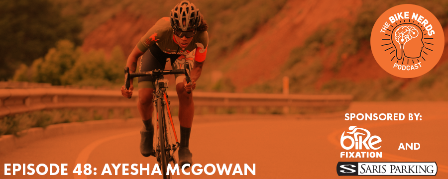 "This week, Sara and Kyle catch up with Ayesha McGowan, a California resident on a mission to become the first ever African-American female professional cyclist. Ayesha talks about the importance of women and people of color to be represented in bike racing, her personal journey to become a professional cyclist, and her podcast: Fix It Black Jesus. Ayesha also talks about the launch of her virtual ride series at her website, A Quick Brown Fox. By joining the ""Do Better Together"" ride series you can set riding goals and earn prizes right along side Ayesha as she makes her way through the 2017 race season! The Bike Nerds Podcast is sponsored by Saris Cycling Group. Visit www.sarisparking.com for a full array of bicycle parking and infrastructure products."