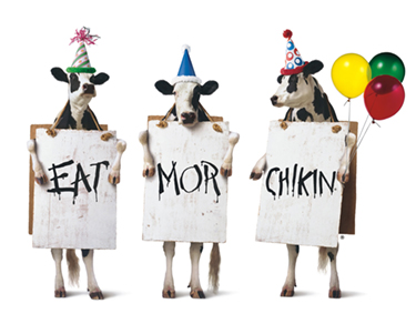 Three cows paying homage to the civil rights era 'I AM A MAN' signs.