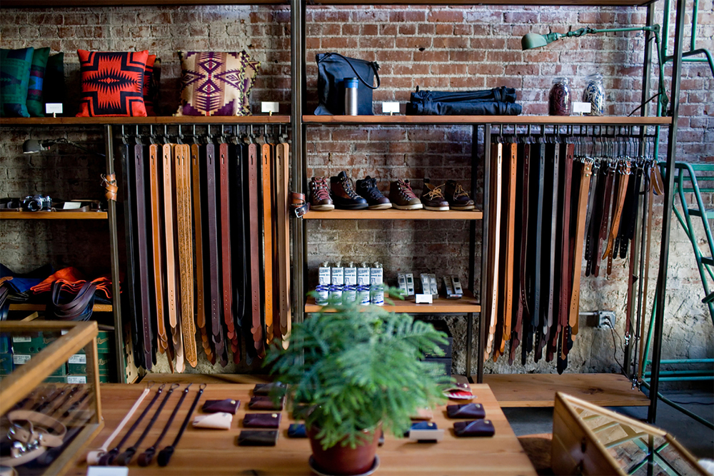 PNW Retail Leather Goods Display | Casework Interior Design | Portland, OR