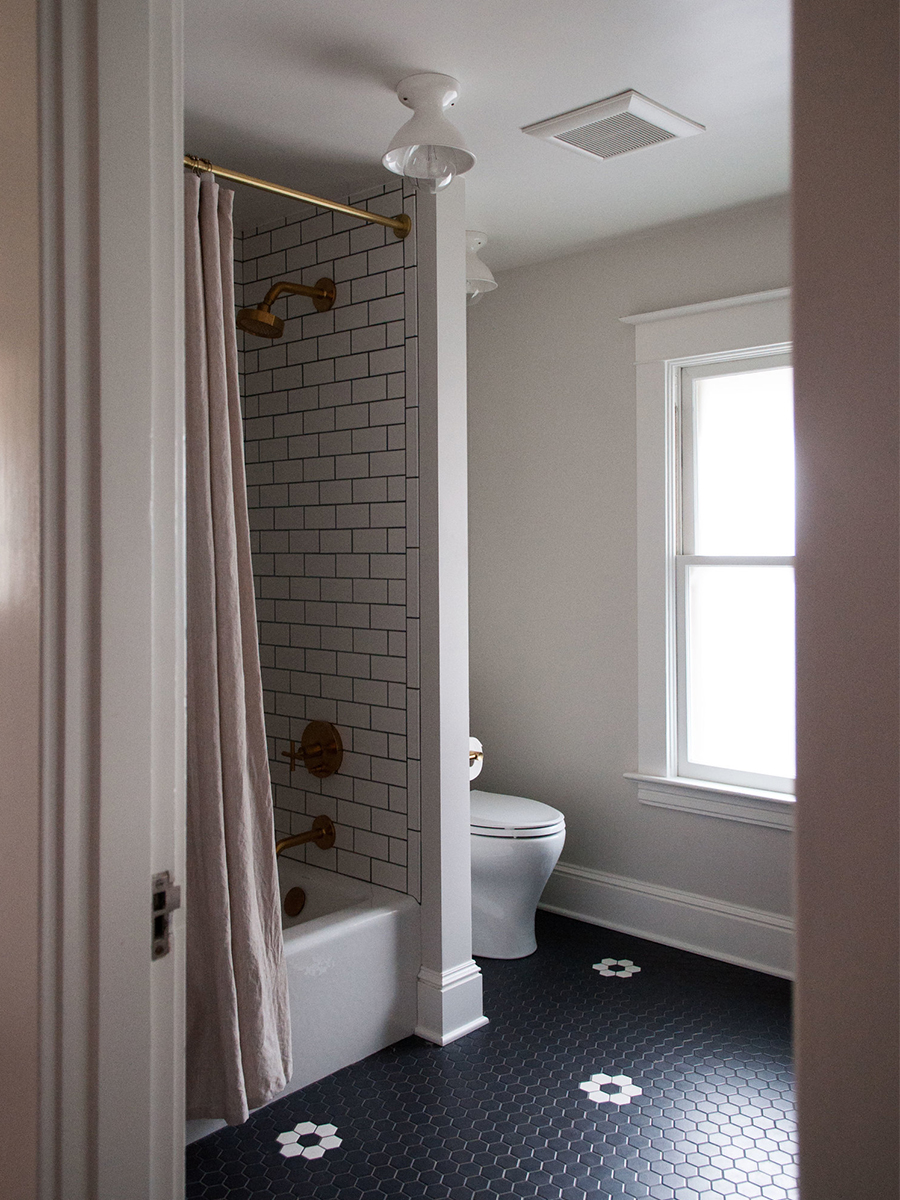 Master Bathroom with Custom Patterned Tile Flooring | Casework Interior Design | Portland, OR