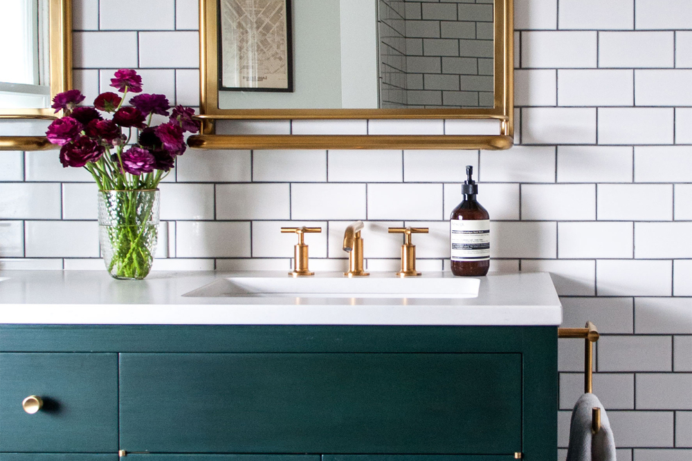 Master Bathroom with Brass Details & Green Vanity | Casework Interior Design | Portland, OR
