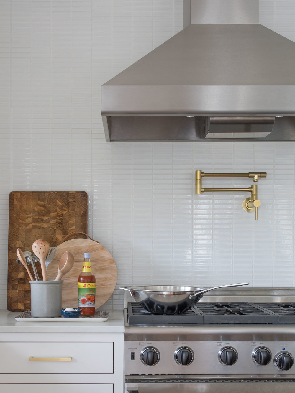 Open Bright Kitchen with Brass Details | Casework Interior Design | Portland, OR