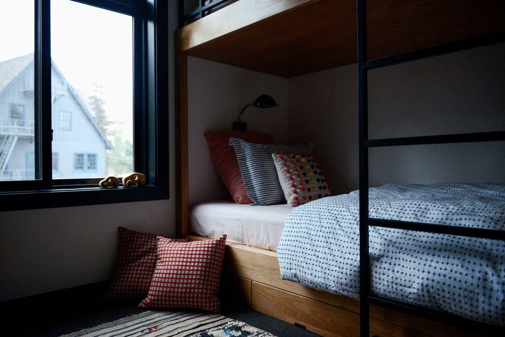 Modern Black & White Mountain Cabin Bunk Room | Casework Interior Design | Portland, OR