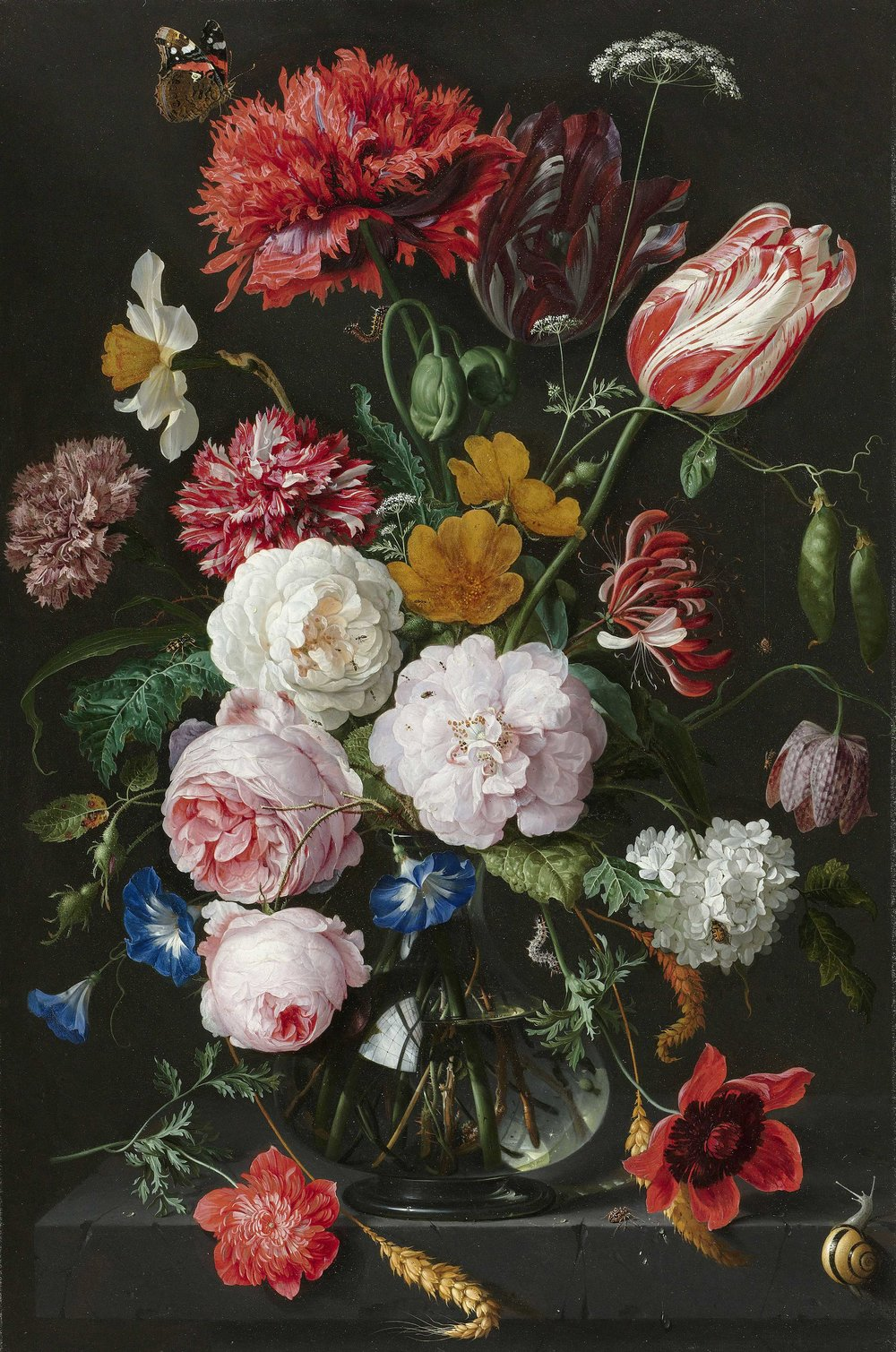 Still Life with Flowers in a Glass Vase - Jan Davidsz-de-Heem. Oil on Copper  Date: 1650 - 1683