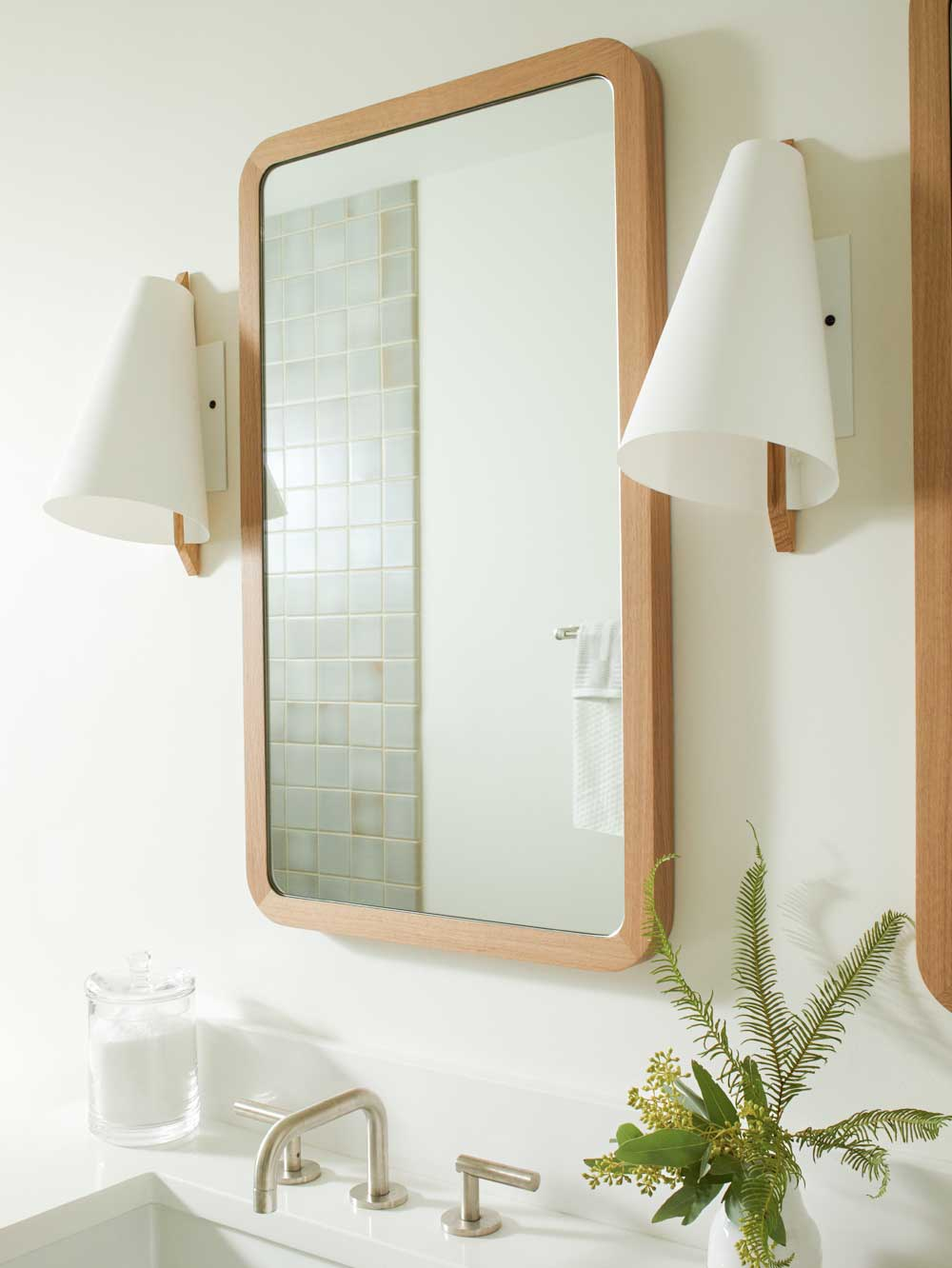 Minimal Master Bath with Custom Oak Mirrors & Brendan Ravenhill Sconces | Casework Interior Design | Portland, OR