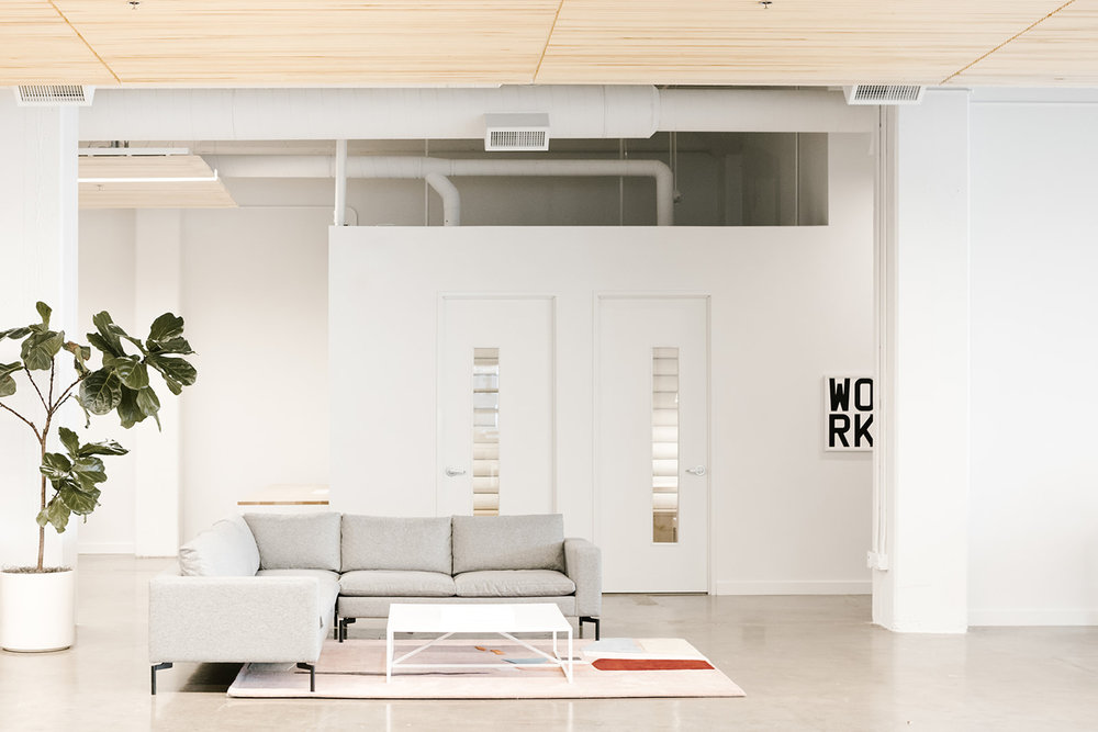Bright Open Office Lounge Space | Casework Interior Design | Portland, OR
