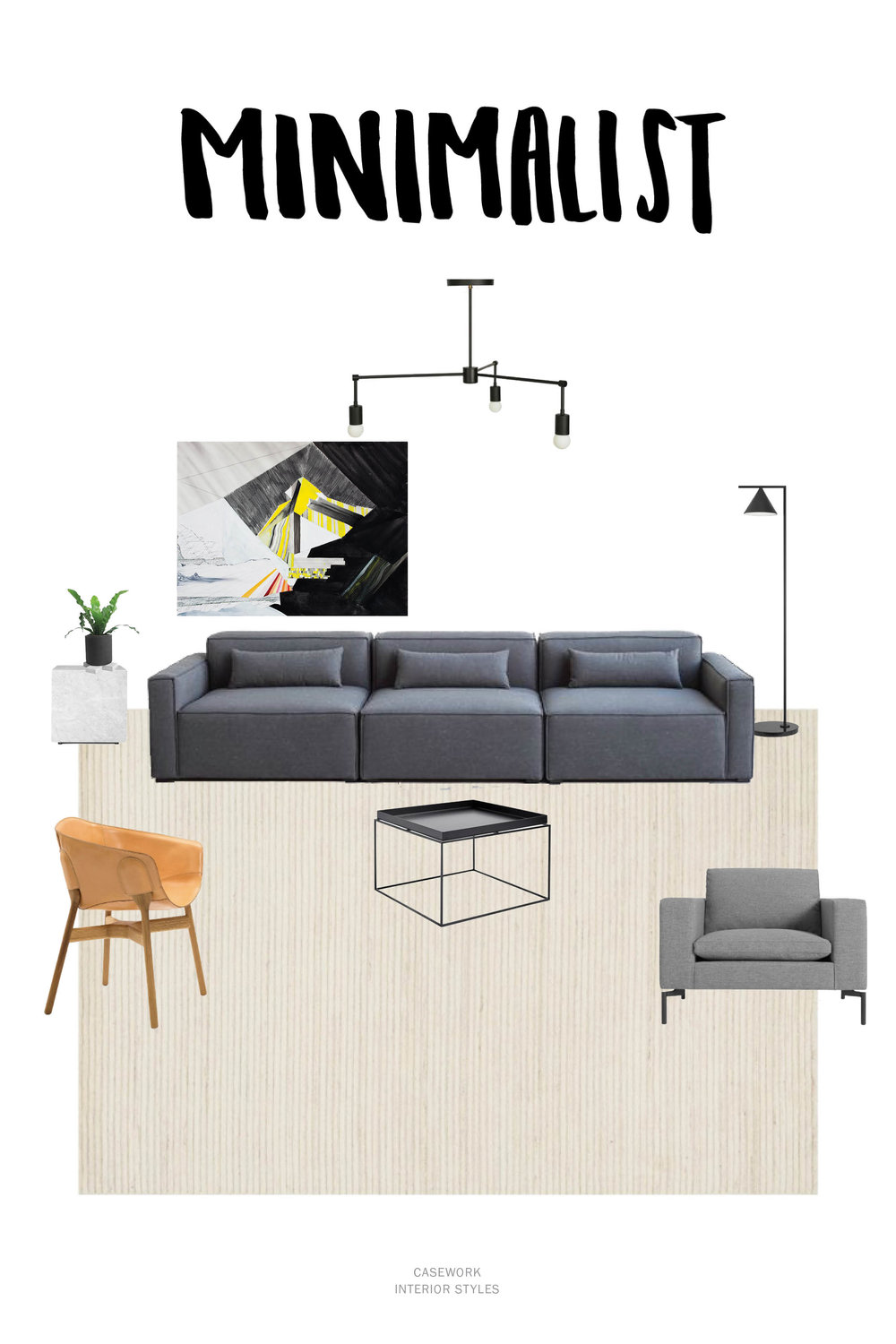 Minimalist Interior Style Resources:  Pendant  | Art |  Sofa - similar  | S ide Table  |  Floor Lamp  |  Leather Side Chair  |  Coffee Table  |  Lounge Chair  |  Rug