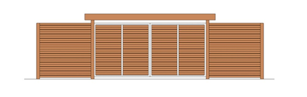 Horizontal slat fence and driveway gate with arbor