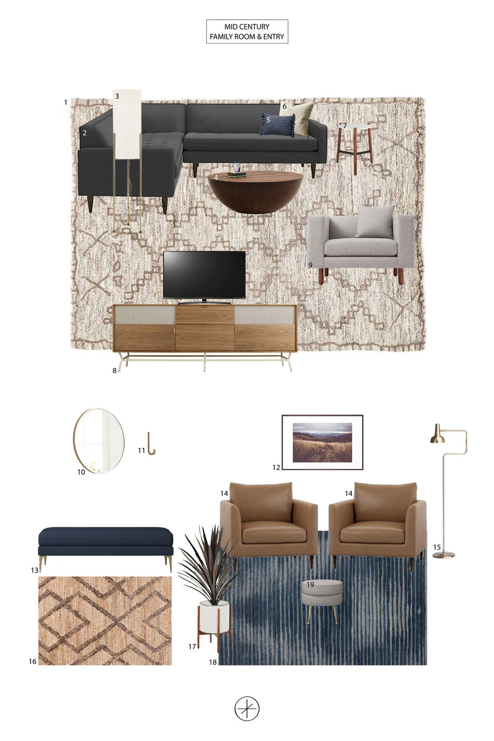 Mid Century Family Room & Entry by Casework Interior Design