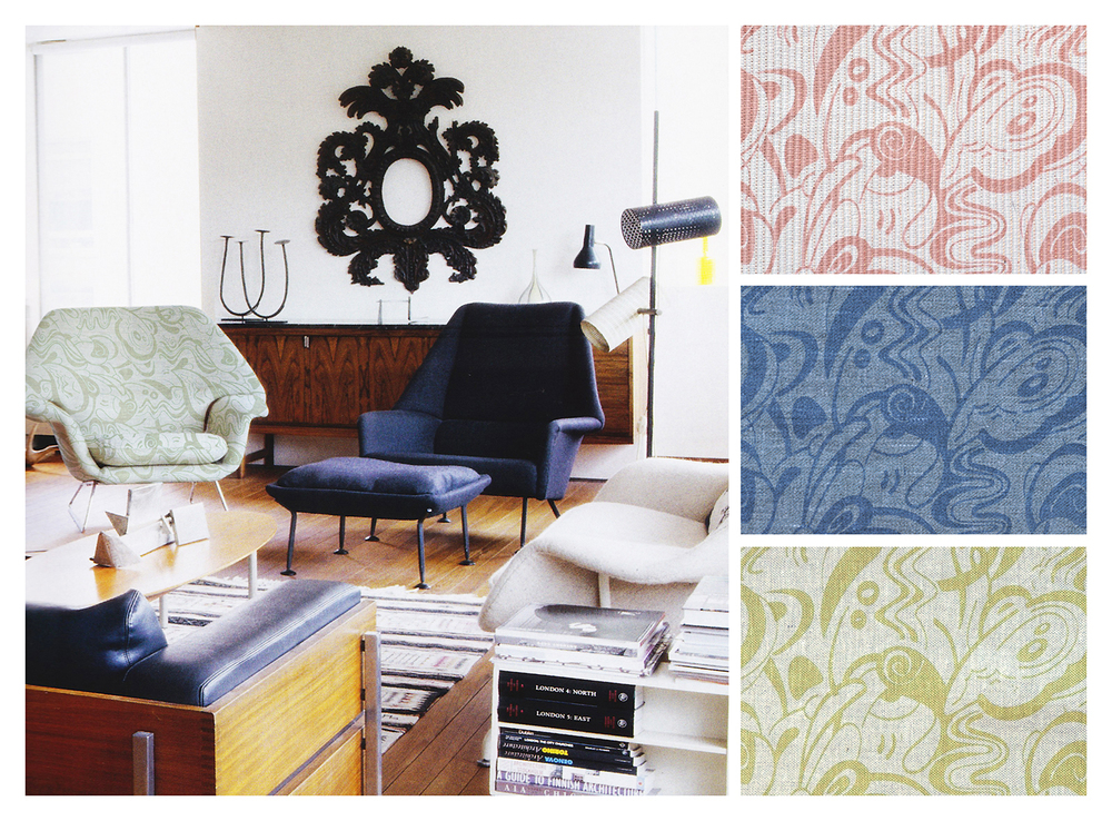 RIVER   Shown in room, with details and colorways, handscreen-printed on upholstery-weight fabric