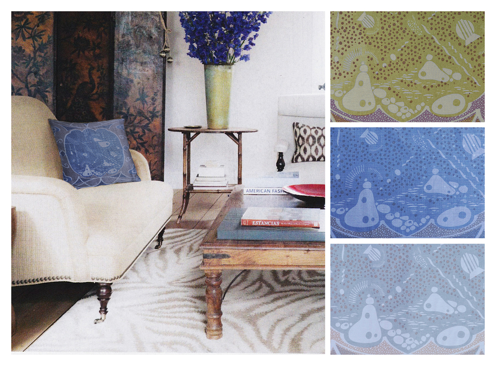 POND   Shown in room, with details and colorways, handscreen-printed on mid-weight fabric