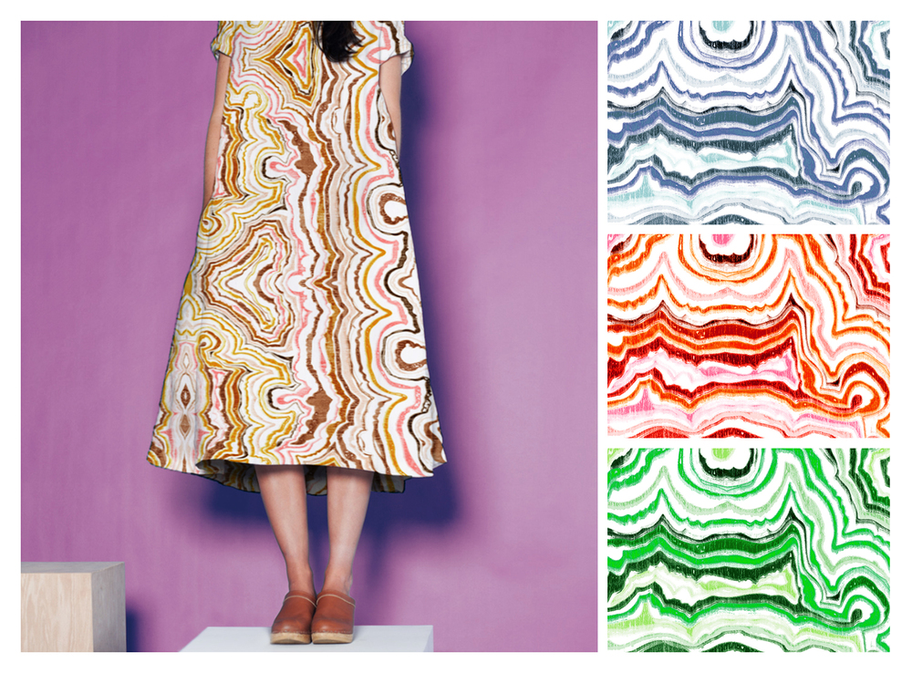 AGATE   Shown on dress, with details and colorways,drawn digitally