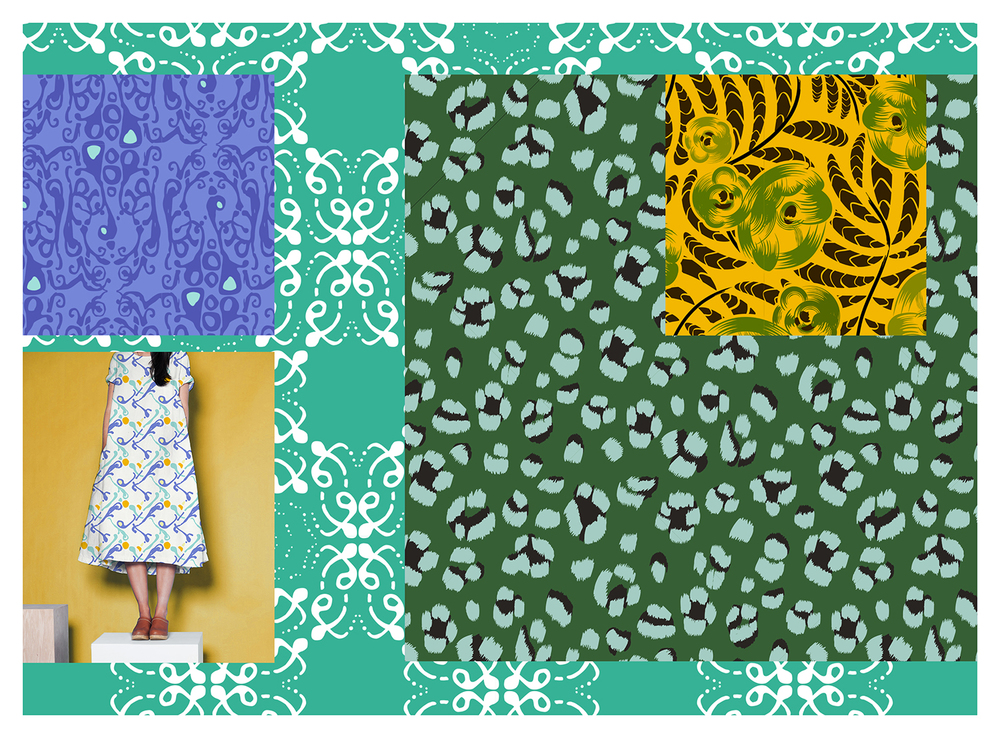 MADELINE COLLECTION   Leadpatternseenon dress, with details and coordinate swatches, drawndigitally