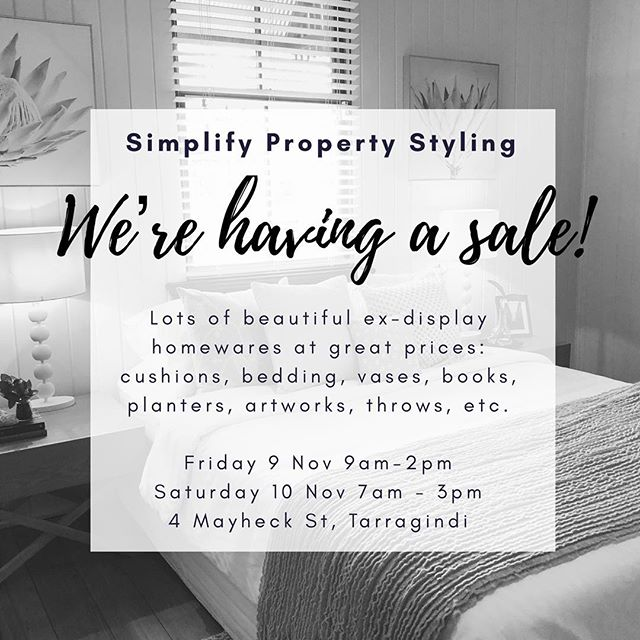 We're having a sale! 🖤  Don't miss our super warehouse sale at Tarragindi this Friday and Saturday - so many gorgeous goodies!! Get in quick for the best bargains, great for stylists and anyone with a passion for homewares 😉  #homewares #sale #art #vases #cushions #lamps #throws #bedding #floralarrangements #towels #bathroomaccessories #kitchenaccessories #books #magazines #cookbooks #stylists #propertystylist #homestaging #brisbanepropertystyling #brisbanehomestaging #bequick #interiors #decor - @josiebowers_stylist @debra_zebra0803 @tracysleeman74