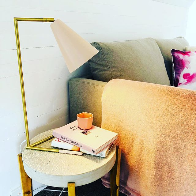 Blush pink and gold end table styling at today's Brookfield install... #blush #gold #endtable #bedroomdecor #retreat #loftstyle #onthemarket #simplify #propertystyling #homestaging #cosy - Photo: @josiebowers_stylist