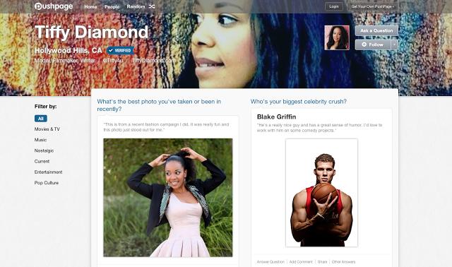 Tiffy Diamond PushPage Social Media Network