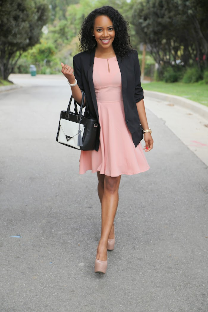 Tautmun regent dress and blazer with Wink and Winn Bag modeled by Tiffy Diamond via Cute LA
