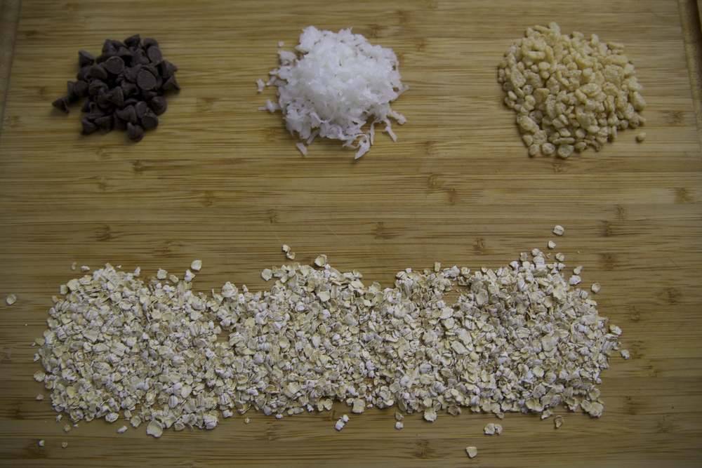 ingredients for oatmeal chocolate chip coconut cookies