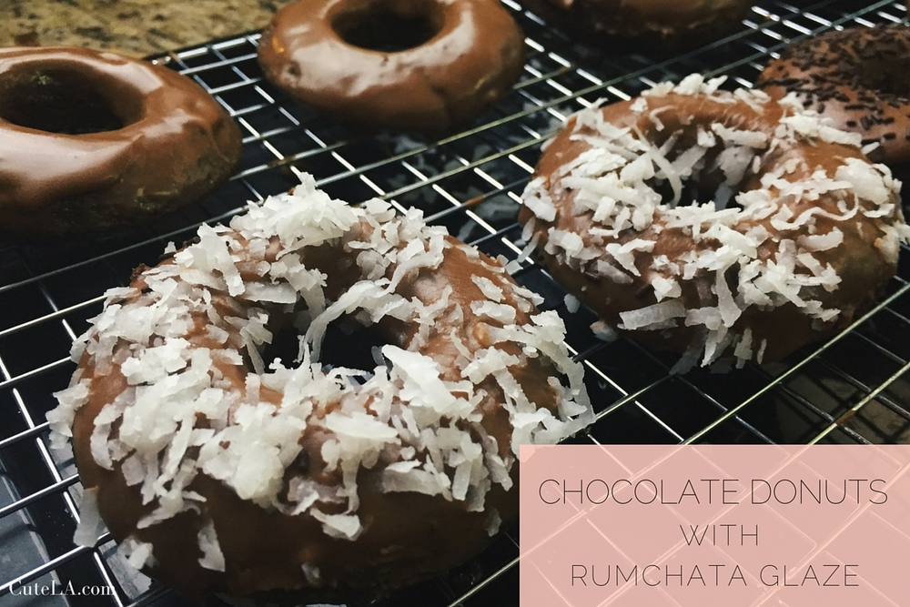 Chocolate Donuts with Rumchata Glaze