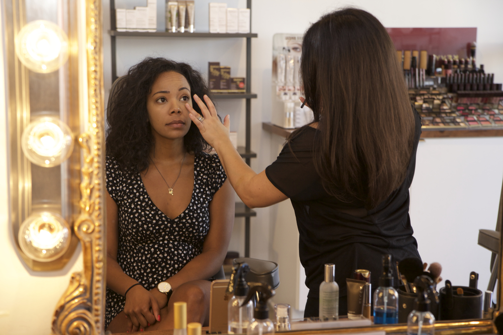 Tiffy Diamond getting make up done via Cute LA