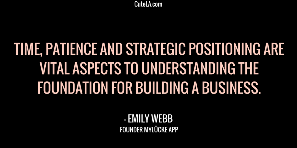 MyLucke Founder Emily Webb Quote