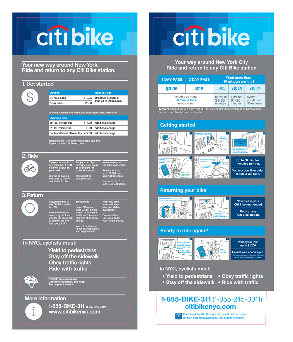 Before (left) and after (right): Final design of Citi Bike kiosk sticker