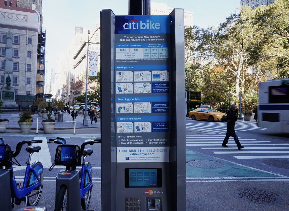 The newly redesigned Citi Bike onboarding at Madison Square Park, NYC.
