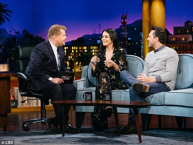 Vanessa Hudgens on The Late Late Show with James Corden, wearing Raisa & Vanessa