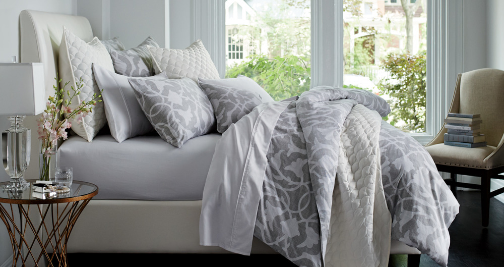 Barbara Barry Bedding  -   Over 40 print and woven bedding ensembles, including decorative pillows and layering pieces, designed in collaboration with Barbara Barry and her team.