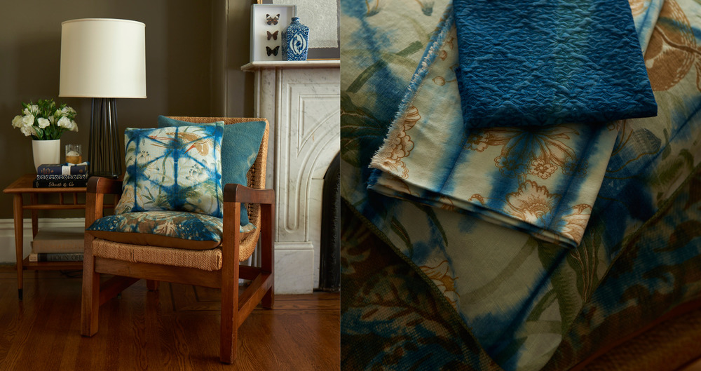 Custom Pillows  - An original collection of overdyed throw pillows using traditional indigo dye techniques over found and vintage fabrics.