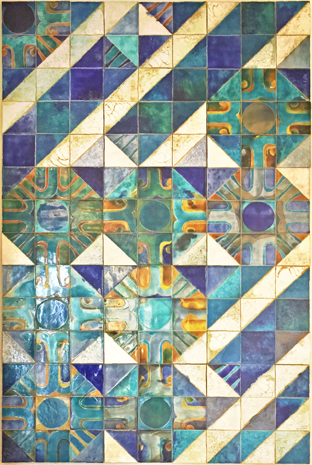 Composição, a tile panel by Querubim Lapa (b 1925)