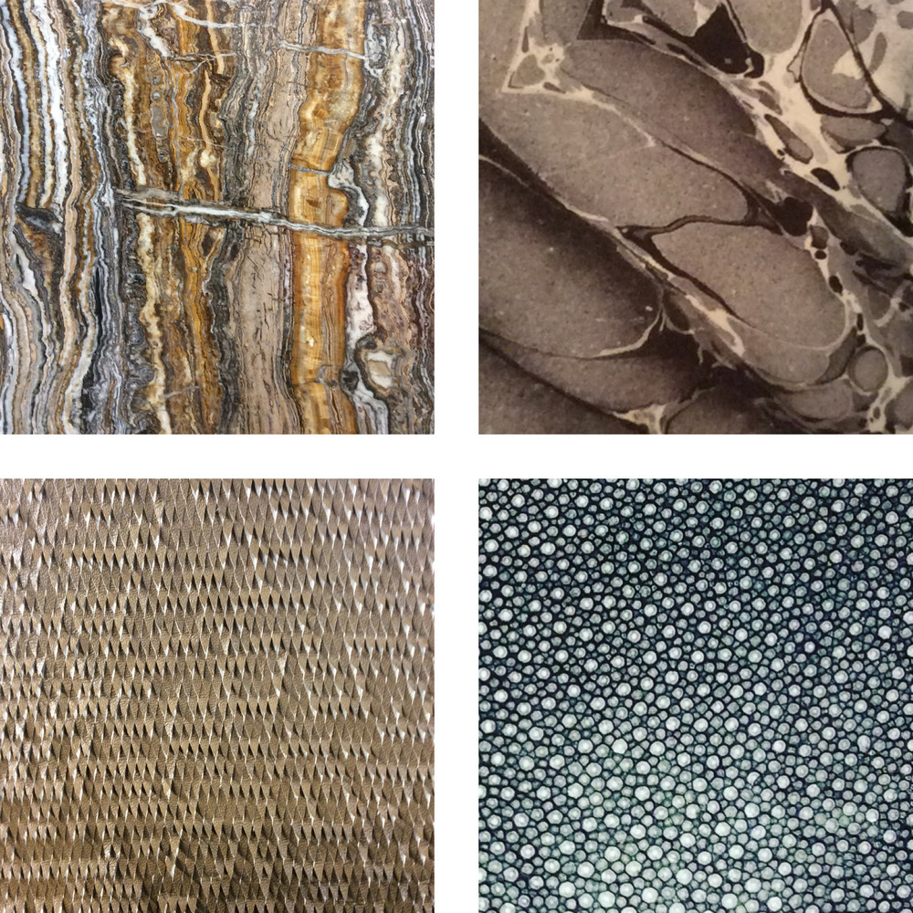 Precious stone, leather and marbleized effects added decorative textures to many products.