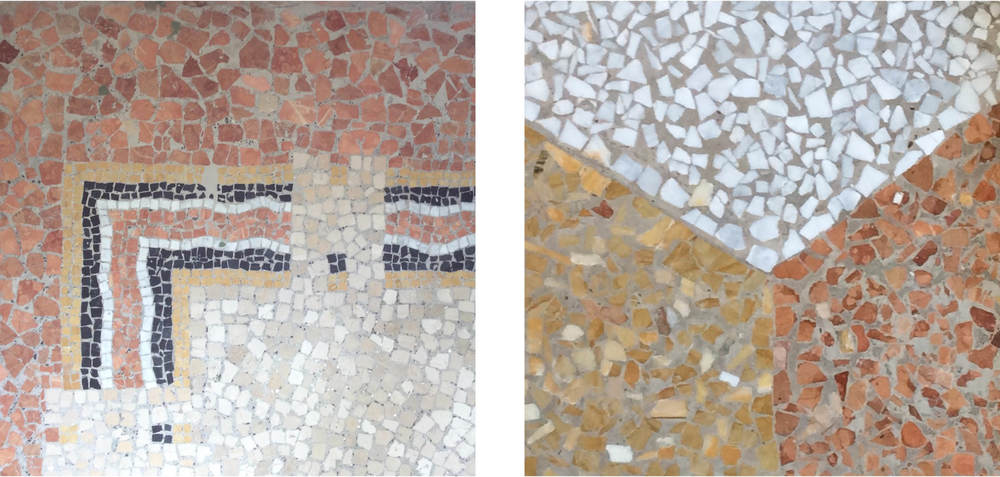 Intricate terrazzo details from the Proposte Villas.