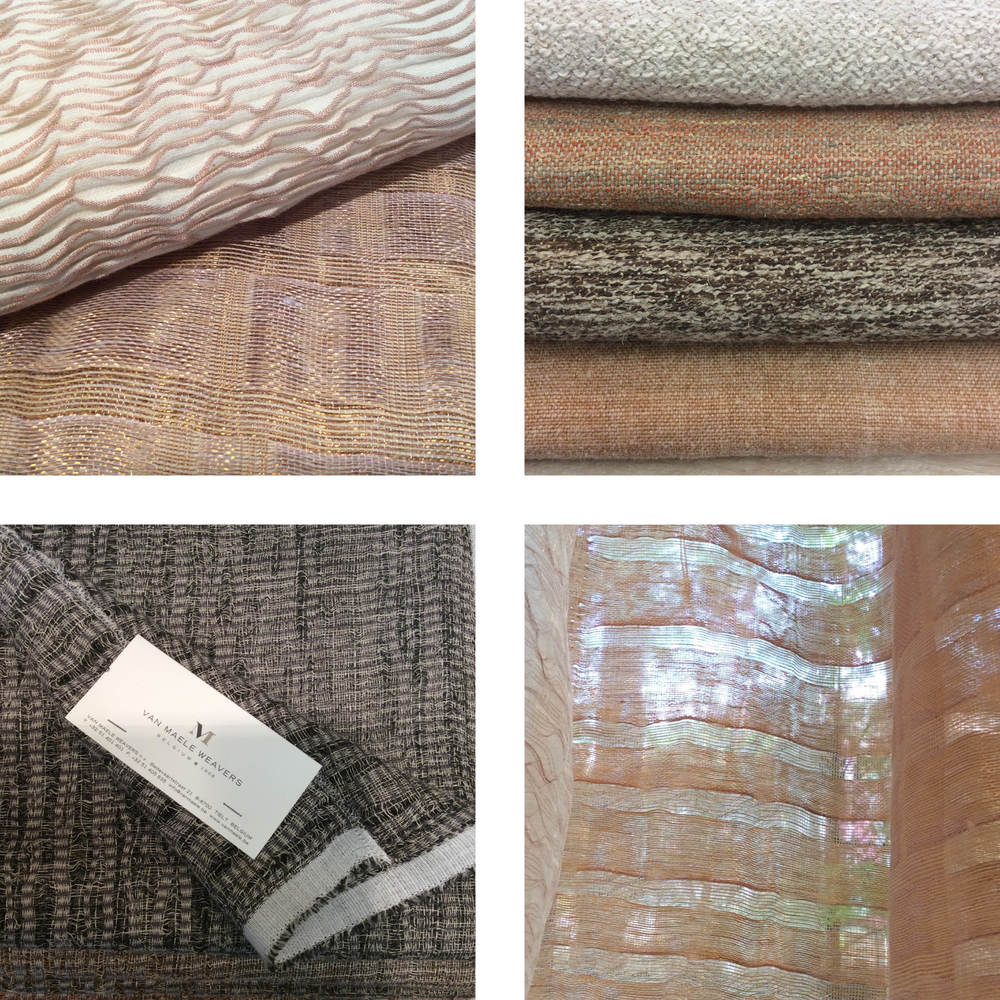 Van Maele impressed with beautiful sheers woven of true copper, as well as luxuriously hefty textures.