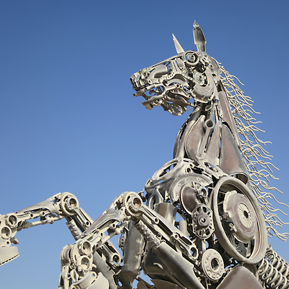 This fantastical rearing horse was made to be animated by hand cranks. Barry Crawford 2018