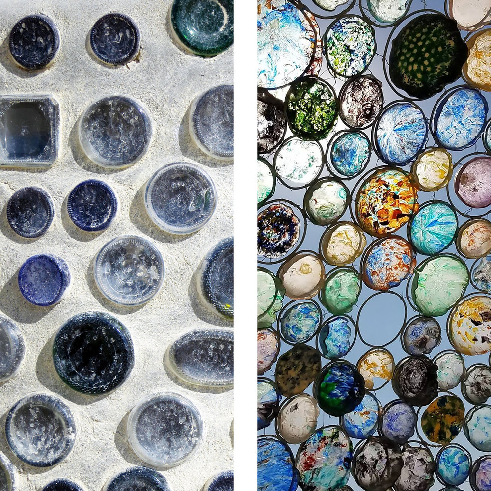 Glass circles provide found pattern. The image at right, taken by  Tessa Thornberry , is of Bloom (an enormous jellyfish) by Peter Hazel, 2017.
