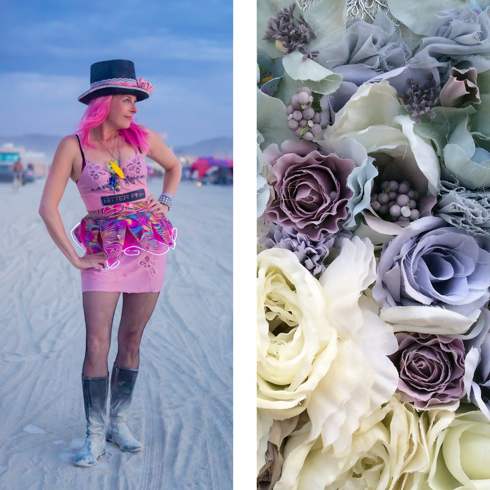 Yep! Yours truly, a few weeks back, in my Burning Man finery including a vintage slip I screen-printed. Portrait thanks to  Jonathan Clark . Image at right is detail from a wedding dress spotted in 2014.