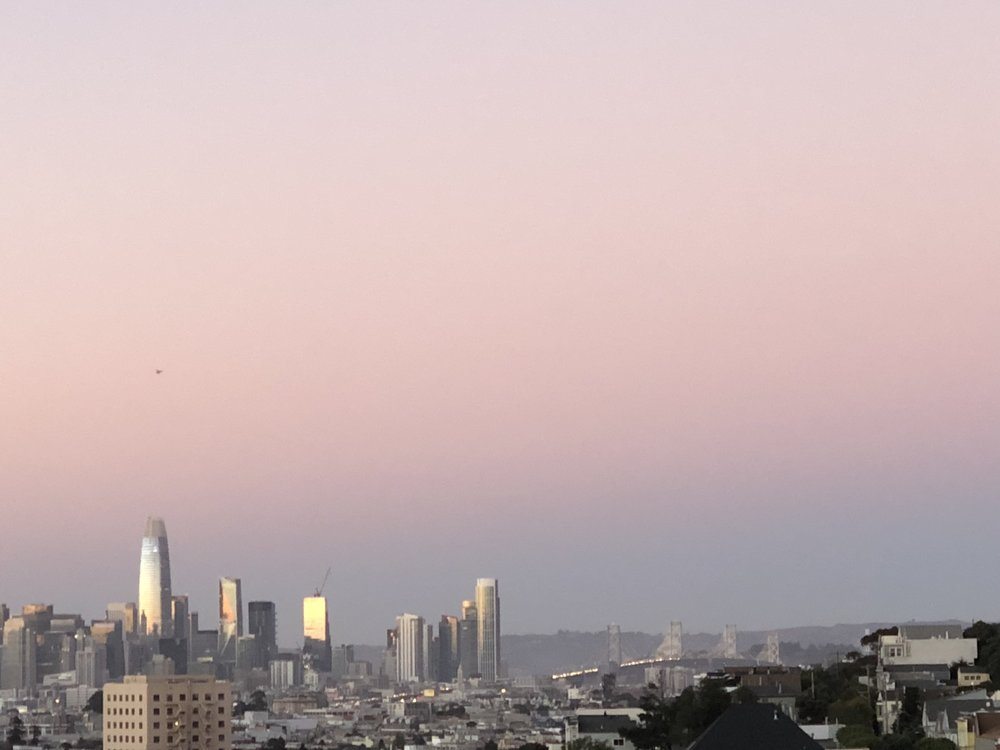 Inspiration: A view of the sunset from a friend's home in Bernal Heights. I love the silver agains the glow of the sky.