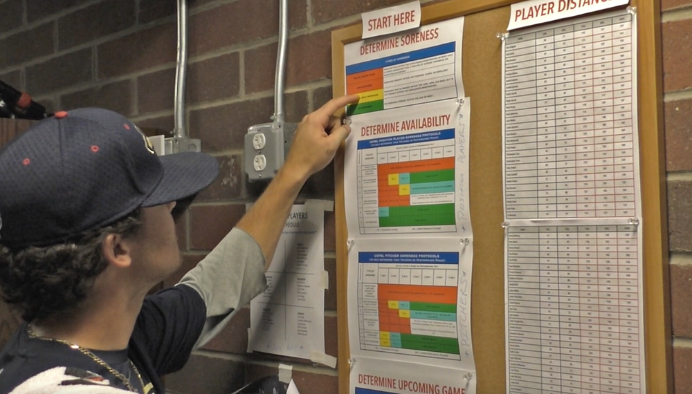 Player checking his soreness protocols to determine his throwing schedule
