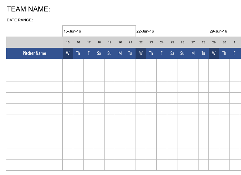 We provide you with a six week Team Throwing Schedule. Enter in your dates and the table updates to fit your upcoming schedule;  essential as you document your players progression throughout the throwing program.