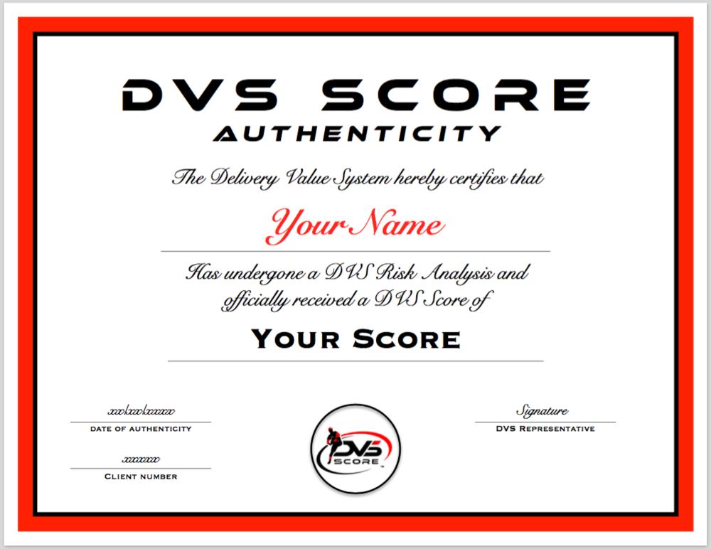 Personalized DVS Score Certificate