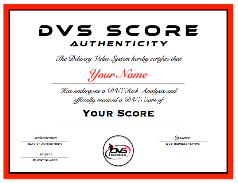 Certificate - We will provide you with an official DVS Score Certificate that will authenticate your score. This can be kept for your records, and can be used to validate the efficiency within your throwing pattern.