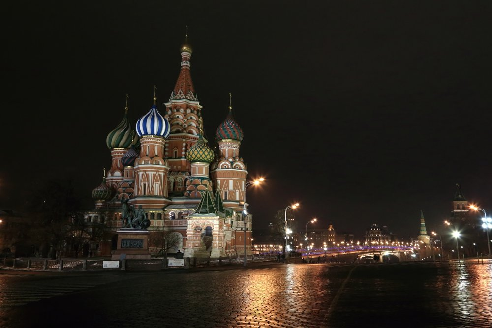 Saint Basil's Cathedral.    Beautiful nightscape of Saint Basil's Cathedral. Moscow, Russia. 09 December 2014. 1/60 s, f/8, ISO 10000, 28 mm, EOS 6D + EF 28-300 L