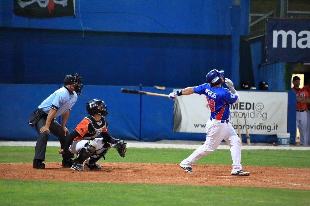 Baseball game! Season 2013 T&A San Marino VS Rimini. 13 September 2013. T&A San Marino won the European Championship baseball CUP in 2011-2014. 1/320 s, f/5.6, -2/3 EV, ISO 12800, 300 mm, EOS 6D + EF 28-300 L
