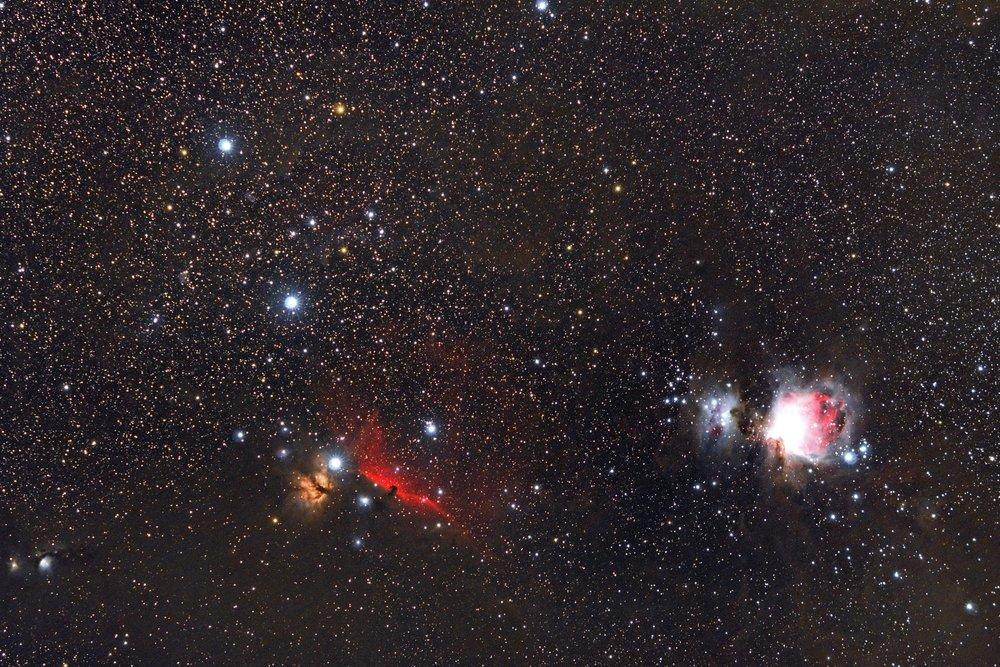 Orion, Flame & Horse!  69x120s - f/2.8 - ISO 800 - EOS 1200D (Astrodon) - Samyang 135mm f/2 ED UMC - SkyWatcher Star Adventurer - 10 DARK - 10 BIAS - 10 FLAT - Mac OS + PixInsight + Canon DPP 4 - 4400x2933 px. Domagnano, Repubblica di San Marino. 22 January 2018.