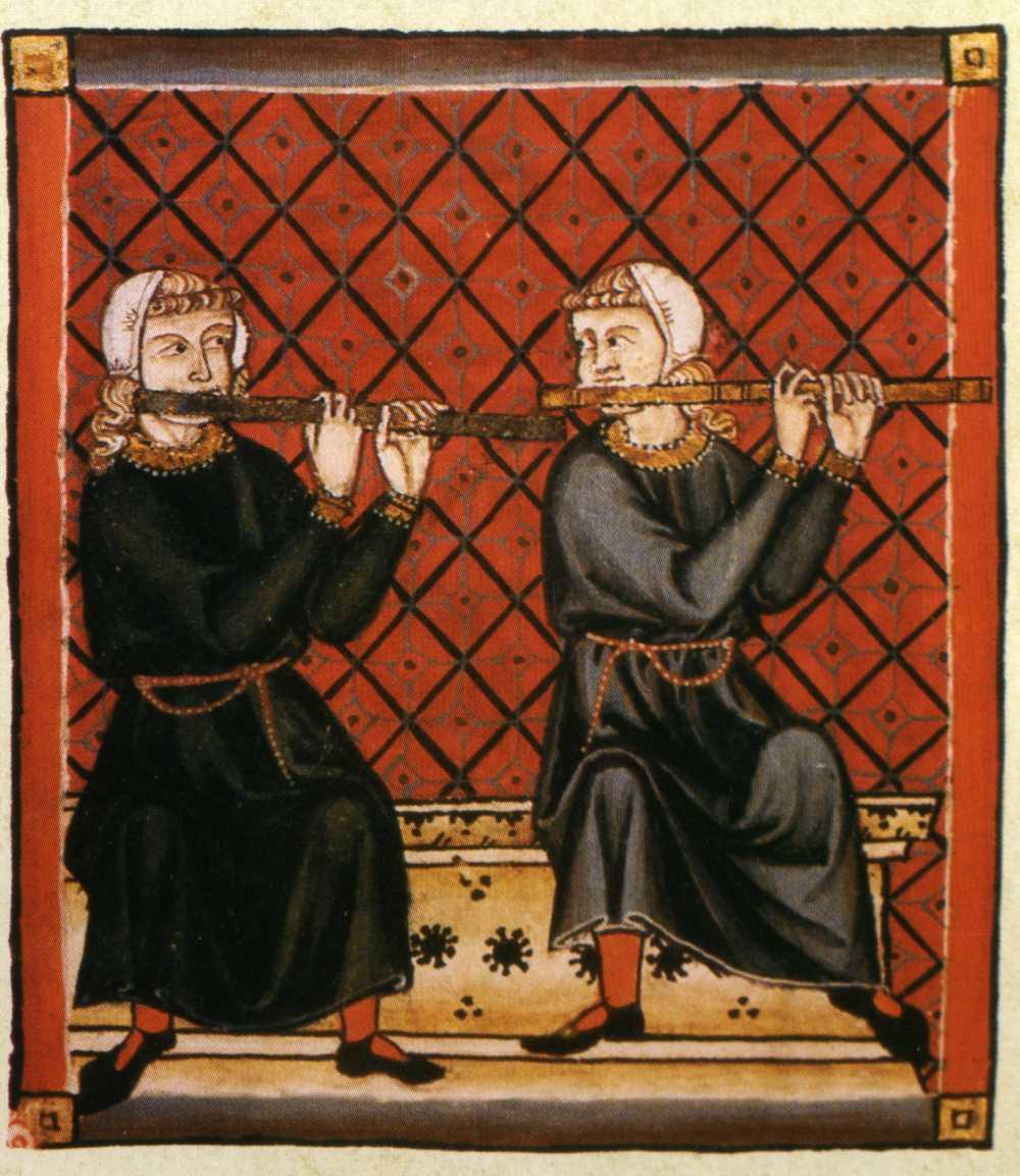 2 flutes - from Cantigas de Santa Maria manuscript