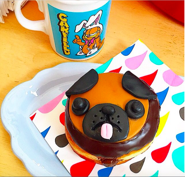 Pug donuts: chocolate creme patisserie filled with chocolate glaze and fondant detail