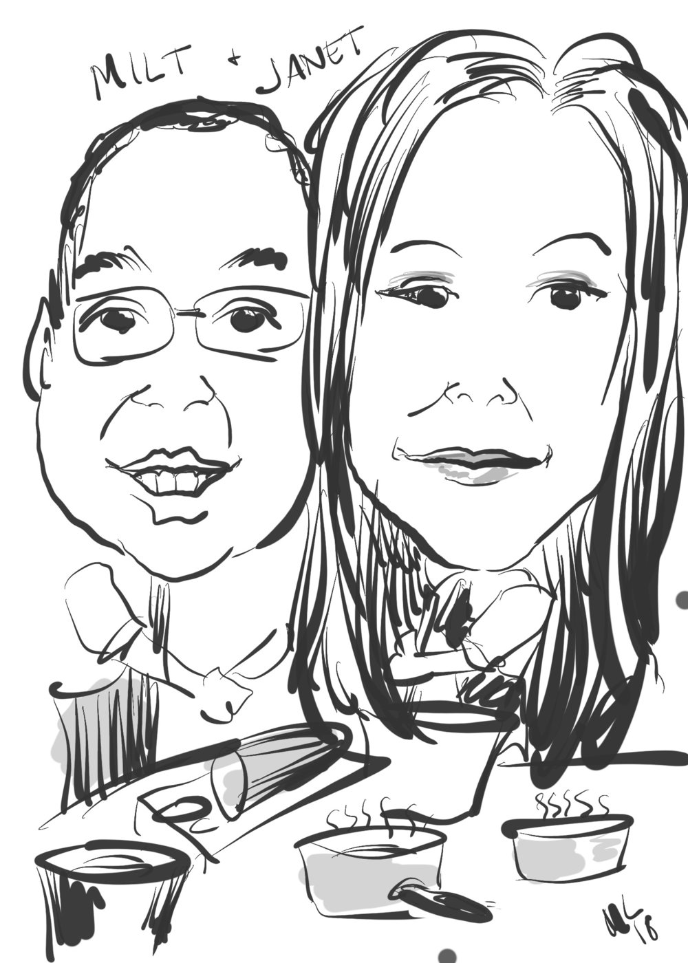 digital caricature of couple