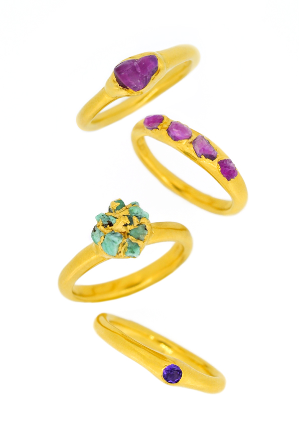 2. Mabel Hasell - Gold plated crystal and amethyst rings.jpg